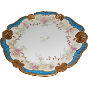 LS & S Limoges France Porcelain 11 inch Blue & Gold Pink Flowers