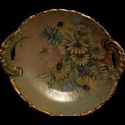 T & V Limoges 1896 Floral Handled Cake Plate Pierced France, Signed