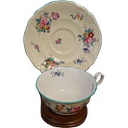 SPODE China DRESDEN ROSE Y675 Blue/Green trim, Cup and Saucer Set