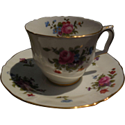 Crown Staffordshire English Fine Bone China Dresden Spray Roses Teacup and Saucer