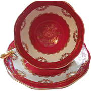 English Royal Standard Tea Cup and Saucer -Red, White, & Gold Gild
