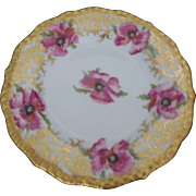 J Pouyat Limoges Hand Painted Pink Poppies 7.5 inches Porcelain Bread Plate