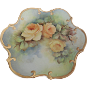 """Beautiful Porcelain 8 inch Plate Hand Painted """"Bridal Rose"""" Artist Signed"""