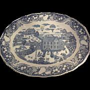 Large Sanyei Blue and White Platter