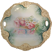 RS Prussia 10.5 inch Cake Plate Flowers Reflected on Water