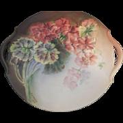 Limoges France Doubled Handled Floral Plate, Artist Signed