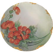 Antique Haviland Limoges France Hand Painted 8.5 inch Orange Poppies Plate