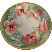 Large Limoges Hand Painted 12 inch Poppies & Gold Trim Artist Signed Charger Plate