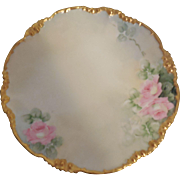 Jean Pouyat Limoges 1905-1915 HD Painted & Gilded Sculpted Tea Rose Plate