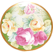 Coronet Limoges Plate circa 1908 Yellow & Pink Roses trimmed with gold trim border
