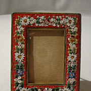 REDUCED Mosaic Easel-Back Picture Frame (floral motif on red)