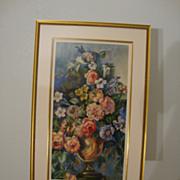 Generous Floral Arrangement in Urn; Watercolor on Paper