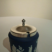 SALE Wedgwood Medium Blue Jasperware 19th Century Jam – Marmalade Pot with Silver Plate Lid