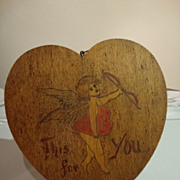 SALE Vintage Valentine Pyrography Wall Plaque