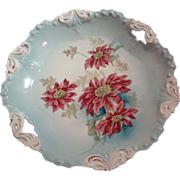 SALE R.S. Prussian Open Handled Cake Plate with Poinsettias
