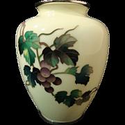 SALE Ando Jubei Cloisonne' Vase with Shakudo Mounts