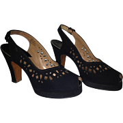 Palter/DeLiso -- Marshall Field 40's Platform Peep-Toe Sling Backs