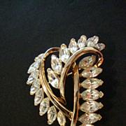 SALE Trifari Rhinestone & Gold Tone Dress / Coat Pin