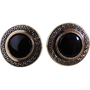 Cufflinks Black Onyx Gold Filled Set c1960's