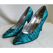 Charles Jourdan Silk Shoes Heels Size 4.5B c1980's
