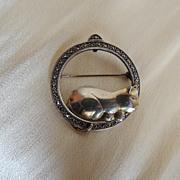 Sterling Marcasite Cat Pin Pendant