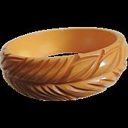 Bakelite Bracelet Deeply Hand Carved Yellow c1940's