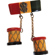 Bakelite Drum Pin Patriotic WWII US Army Insignia c1940's