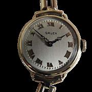 Edwardian 14K Gold Gruen Women's Wristwatch c1918