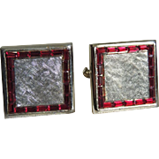 Cufflinks Sterling and Vermeil Red Rhinestones