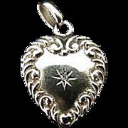Victorian Puffy Heart Locket 14K Diamond