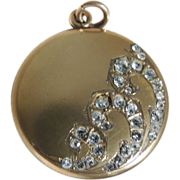 Elegant Art Nouveau Locket Gold Filled Paste Rhinestones