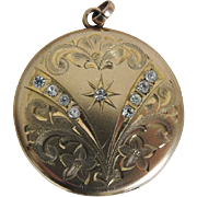 Art Nouveau Locket Gold Filled Paste Rhinestones