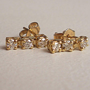 Yellow Gold Diamond Cluster Stud Earrings