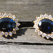 Stunning Large 4cttw Sapphire and Diamond Earrings 18k Gold