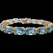 Exquisite 14K Gold 18.3 Gram, 34 Carat Topaz Bracelet With Diamond Accents, 7-1 ...
