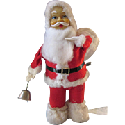Scarce Vintage Wind-Up Santa Clause With Ringing Bell, Mid-20th Century Japan