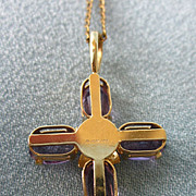 SALE 10K Yellow Gold and Amethyst Cross With GF Chain