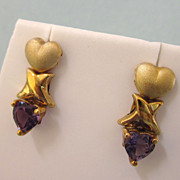 SALE Romantic 10K Yellow Gold and Amethyst Hearts Pierced Earrings