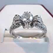 Vintage Tacori Platinum and 1 CTW Diamond Pave Engagement Ring, .62 Center Stone, Size 6 ...