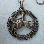 """SALE Old Dressage Pendant, Horse With English Rider, with 24"""" Sterling Chain"""