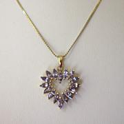 SALE Feminine 14K Yellow Gold and Tanzanite Heart Pendant Necklace