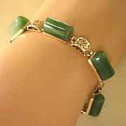 Exceptional 14K Gold and Domed Jade Link Bracelet, 13.6 Grams