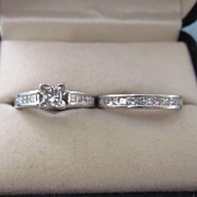 Estate 1CTW Diamond 14K White Gold Wedding Ring Set, Size 4-1/2