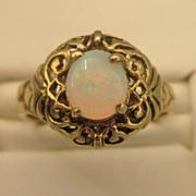 SALE Estate Vintage 14K Gold Opal Ring, Size 5-1/2
