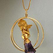 Exquisite Estate 14K Gold Cherub With Amethyst Trumpet Huge Dimensional 17.3 Gram Pendant