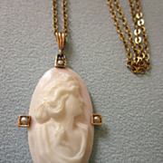 Victorian 10K Elongated Carved Pale Pink Shell Cameo With Seed Pearls, With Vintage GF Chain