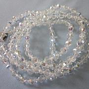 "SALE Dazzling Vintage 54"" Faceted Crystal Long Rope Sautoir Necklace"