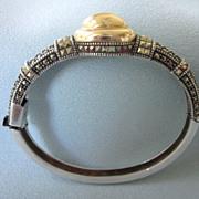 Vintage Signed Judith Jack 14K Gold and Sterling Silver Marcasite Hinged Bangle Bracelet