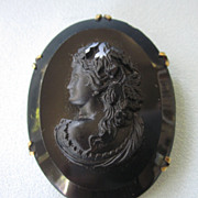 SALE Victorian Large Mourning Cameo Brooch, Black Glass and Gold Filled
