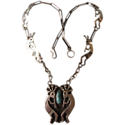 SALE Vintage Sterling Kokopelli Necklace With Turquoise Signed Zia